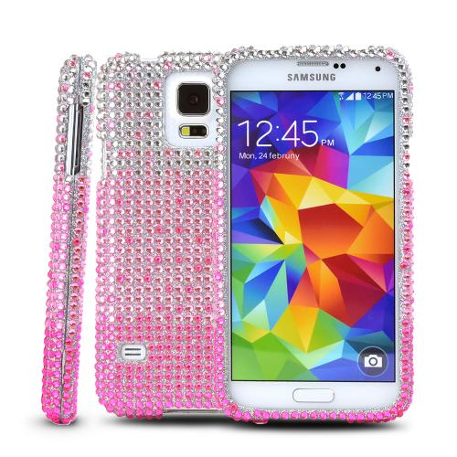 Hot Pink/ Baby Pink Waterfall on Silver Gems Bling Dazzle Hard Case for Samsung Galaxy S5