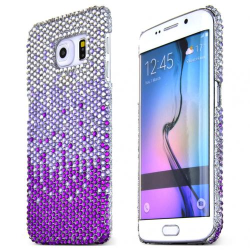 Samsung Galaxy S6 Edge Case,  [Purple Waterfall]  Silver Shiny Sparkling Bling Gems Protective Hard Case Cover