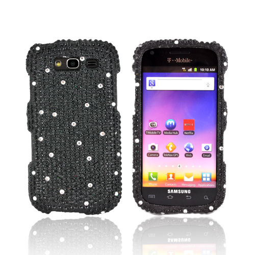 Samsung Galaxy S Blaze 4G Bling Hard Case - White Gems on Black Gems