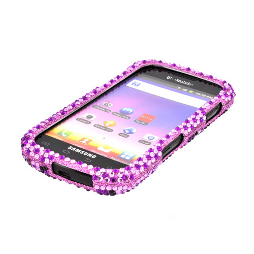 Samsung Galaxy S Blaze 4G Bling Hard Case - Purple/ Black Leopard on Light Purple Gems
