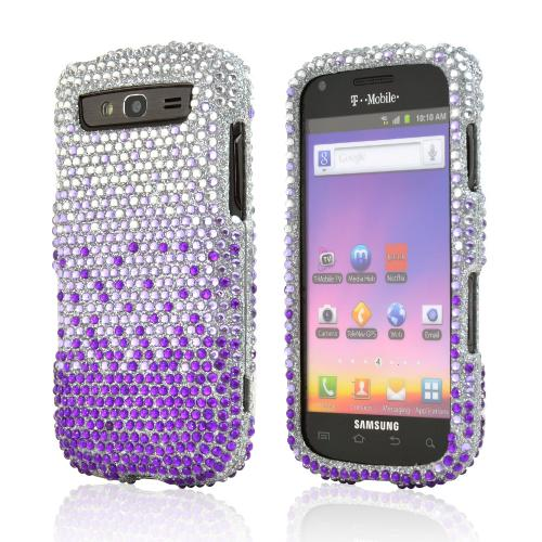 Samsung Galaxy S Blaze 4G Bling Hard Case - Purple/ Lavender Waterfall on Silver Gems