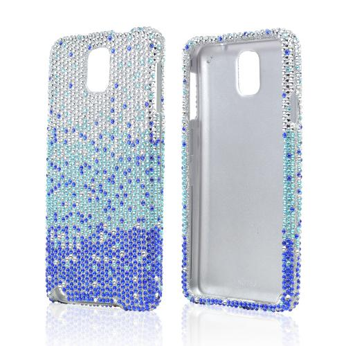 Turquoise/ Blue Waterfall on Silver Gems Bling Hard Case for Samsung Galaxy Note 3