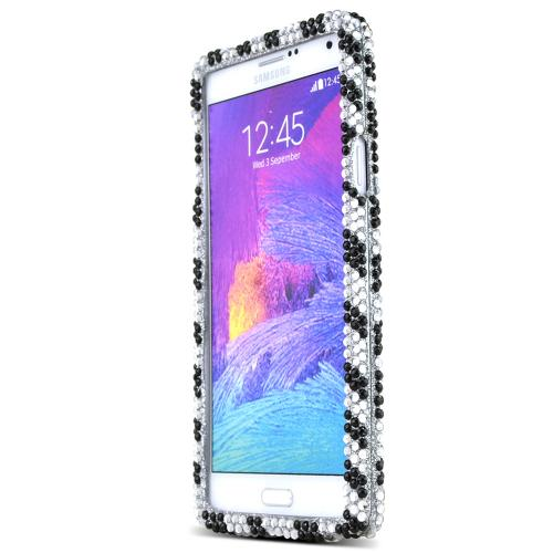 Samsung Galaxy Note 4 Case,  [Zebra Bling]  Protective Hard Case W/ Fashion Crystal Diamond Rhinestones