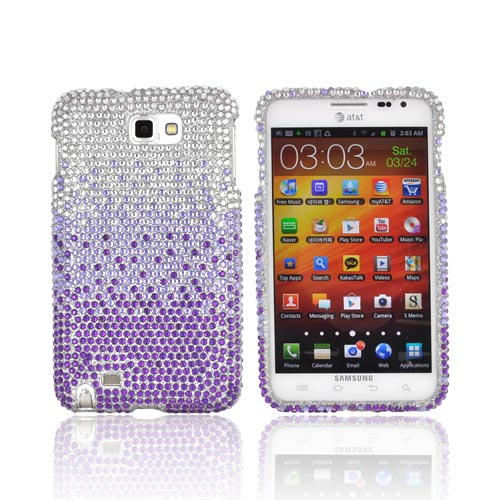Samsung Galaxy Note Bling Hard Case - Purple/ Lavender Waterfall on Silver Gems