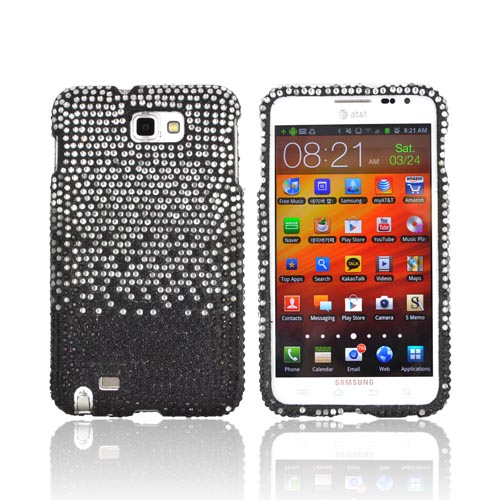 Samsung Galaxy Note Bling Hard Case - Silver Waterfall on Black Gems