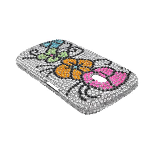 Samsung Galaxy Nexus Bling Hard Case - Hawaiian Flowers on Silver Gems