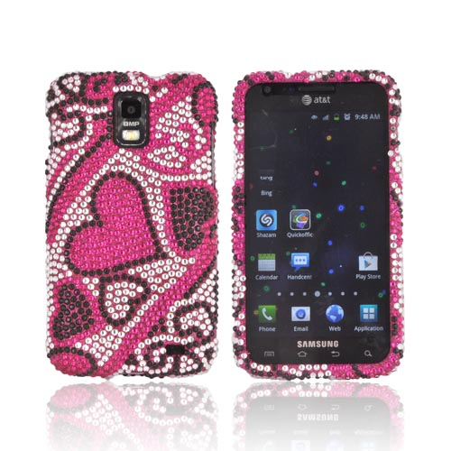 Samsung Galaxy S2 Skyrocket Bling Hard Case - Black/ Silver Hearts on Pink Gems