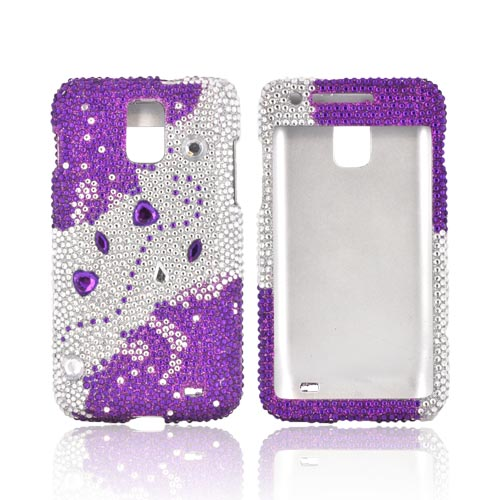 Samsung Galaxy S2 Skyrocket Bling Hard Case - Purple Hearts on Purple/ Silver Gems