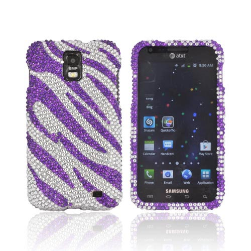 Samsung Galaxy S2 Skyrocket Bling Hard Case - Purple Zebra on Silver Gems