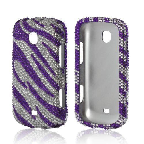 Samsung Purple/ Silver Zebra Bling Hard Case For Galaxy S...