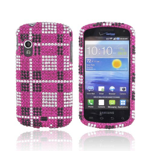 Samsung Stratosphere i405 Bling Hard Case - Black/ Silver Plaid on Hot Pink Gems