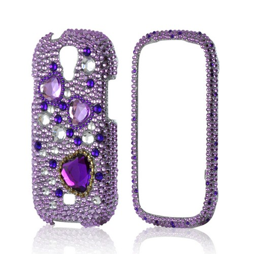 Purple Hearts on Purple/ Clear Gems Bling Hard Case for Samsung Stratosphere 2