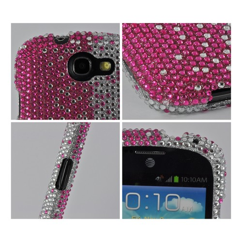 Hot Pink/ Silver Gems Bling Hard Case for Samsung Galaxy Express