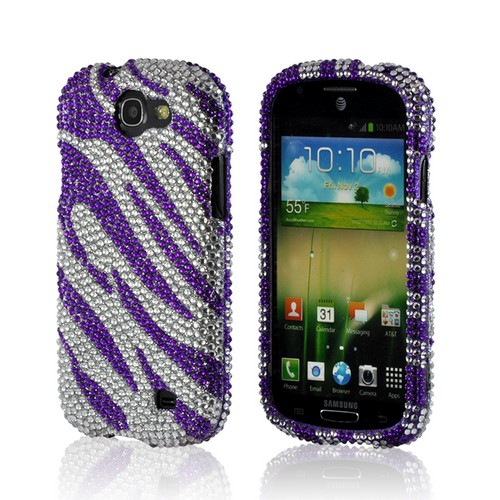 Purple/ Silver Zebra Bling Hard Case for Samsung Galaxy Express