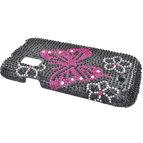 Samsung Fascinate Bling Hard Case - Flowers Hot Pink Butterfly on Black