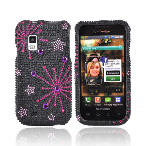 Samsung Fascinate i500 Bling Hard Case - Supernova Pink Star on Black