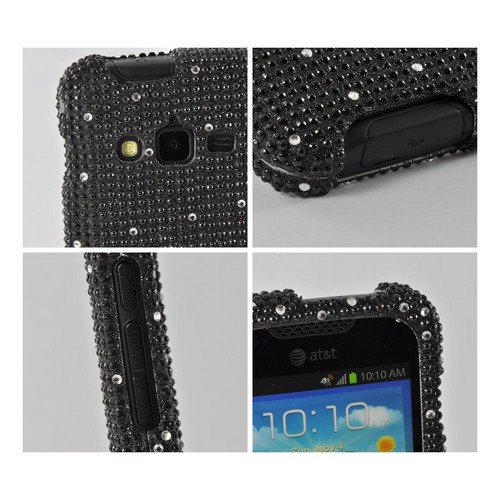 White Gems on Black Gems Bling Hard Case for Samsung Galaxy Rugby Pro