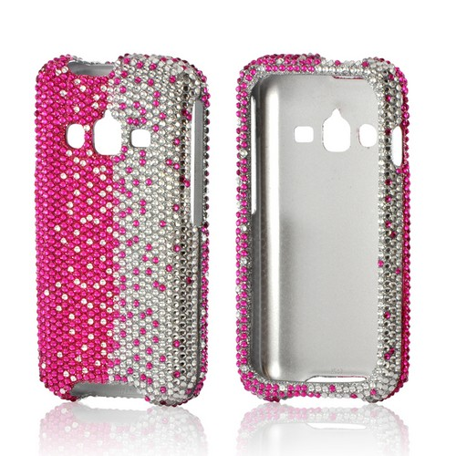 Hot Pink/ Silver Gems Bling Hard Case for Samsung Rugby Pro