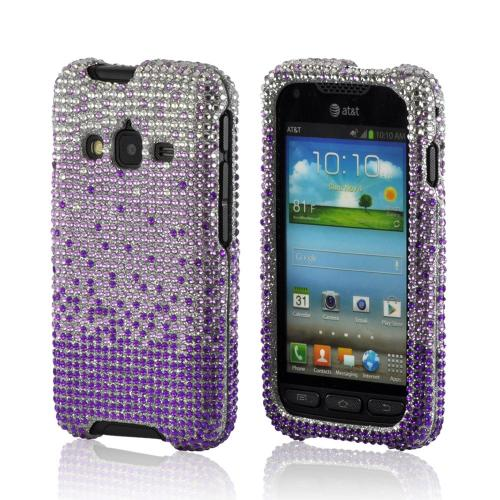 Purple/ Lavender Waterfall on Silver Gems Bling Hard Case for Samsung Galaxy Rugby Pro