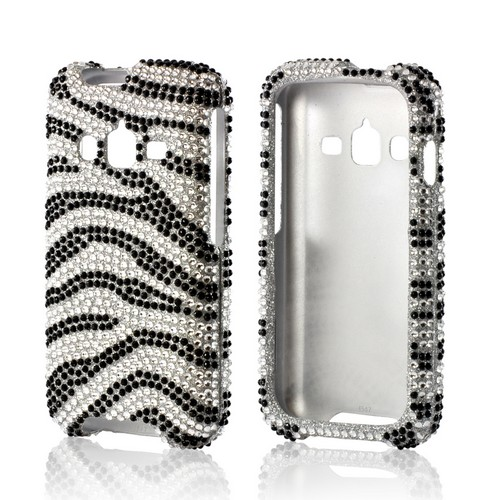 Black/ Silver Zebra Bling Hard Case for Samsung Galaxy Rugby Pro