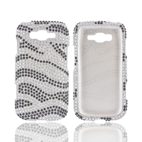 Samsung Focus 2 Bling Hard Case - Silver/ Black Zebra