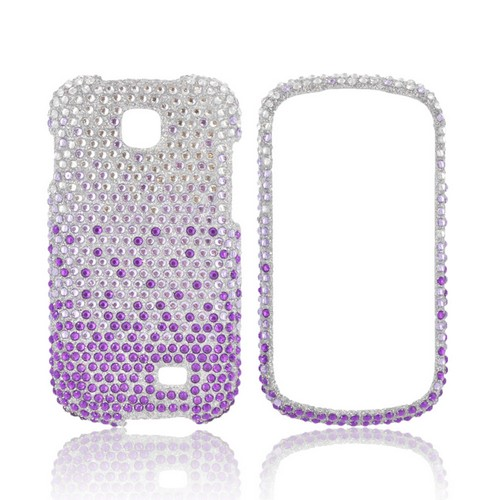 Samsung Galaxy Appeal Bling Hard Case - Purple/ Lavender Waterfall on Silver Gems