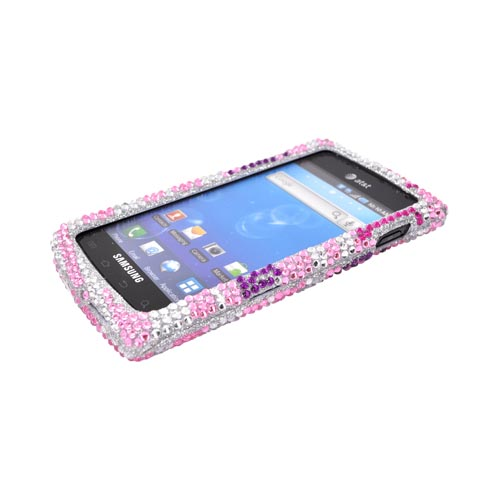 Samsung Captivate i897 Bling Hard Case w/ Crowbar - Purple Anchor w/ Magenta Star on Baby Pink & Silver Gems