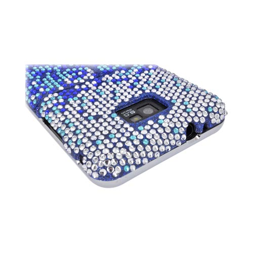 AT&T Samsung Galaxy S2 Bling Hard Case w/ Kickstand - Blue/ Turquoise Waterfall on Silver Gems