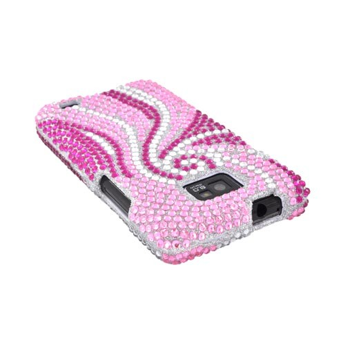 AT&T Samsung Galaxy S2 Bling Hard Case w/ Crowbar - Magenta/ Baby Pink Swirls on Silver Gems