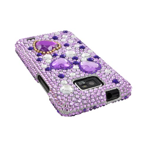 AT&T Samsung Galaxy S2 Bling Hard Case - Purple Hearts on Light Purple/ Silver Gems