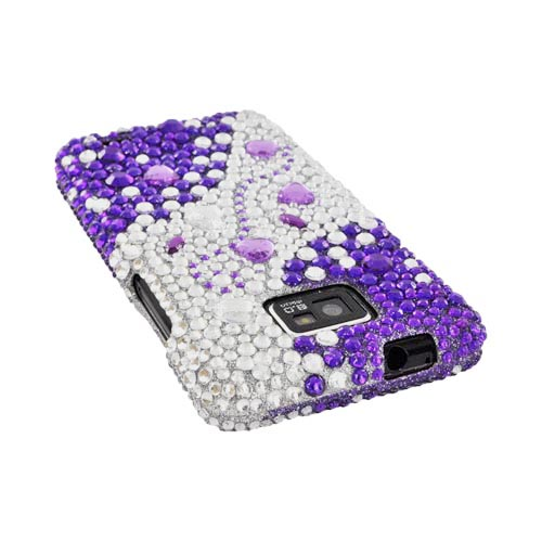 AT&T Samsung Galaxy S2 Bling Hard Case - Purple/ Silver Hearts & Gems