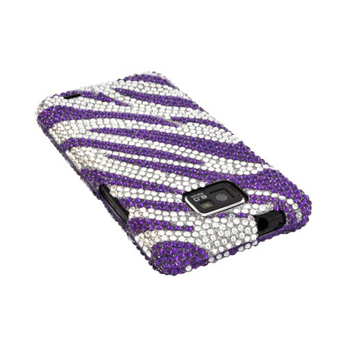 AT&T Samsung Galaxy S2 Bling Hard Case - Purple Zebra on Silver Gems