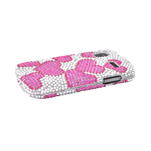 Samsung Focus i917 Bling Hard Case - Pink Hearts on Clear Gems on Silver