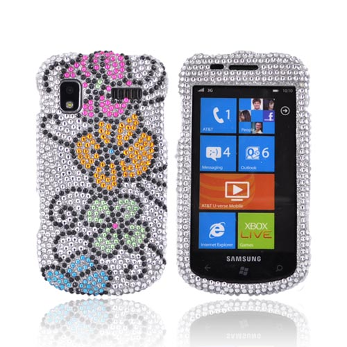 Samsung Focus i917 Bling Hard Case - Hawaiian Flowers on Silver Gems