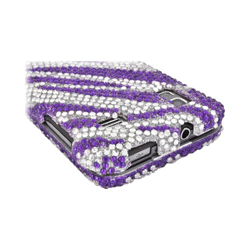 Samsung Captivate Glide i927 Bling Hard Case - Purple Zebra on Silver Gems