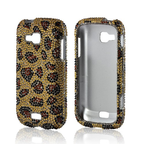 Brown Leopard on Gold Gems Bling Hard Case for Samsung ATIV Odyssey