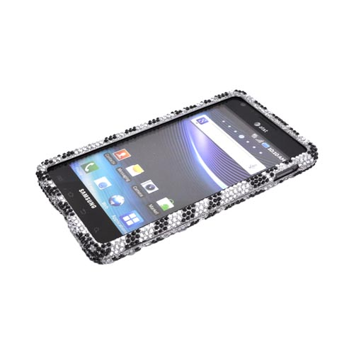 Samsung Infuse i997 Bling Hard Case - Black Zebra on Silver Gems