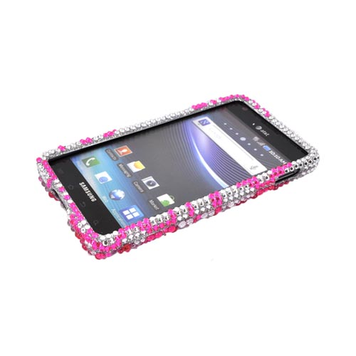 Samsung Infuse i997 Bling Hard Case - Pink Lace Flowers on Silver Gems