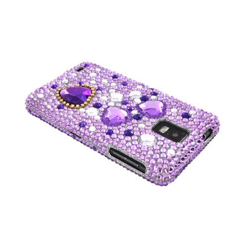 Samsung Infuse i997 Bling Hard Case - Purple Hearts on Light Purple/ Silver Gems