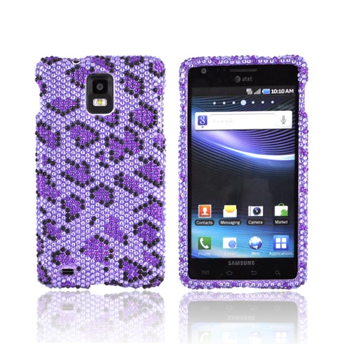 Samsung Infuse i997 Bling Hard Case - Dark Purple/ Black Leopard on Light Purple Gems