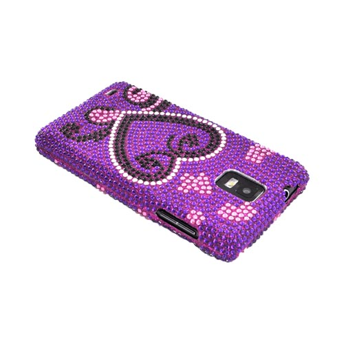 Samsung Infuse i997 Bling Hard Case - Silver/ Black Heart on Purple Gems