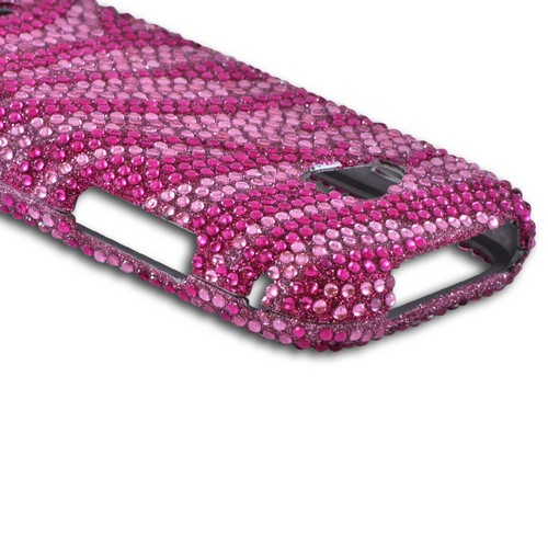 Samsung Galaxy Victory 4G LTE Bling Hard Case - Hot Pink/ Baby Pink Zebra