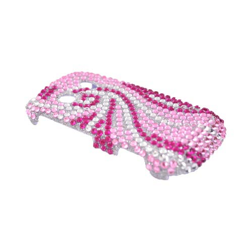 Samsung Seek M350 Bling Hard Case - Hot Pink and Baby Pink Swirls on Silver Gems