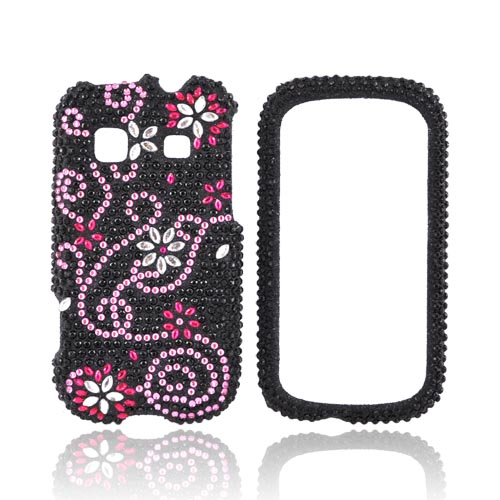 Samsung Trender M380 Bling Hard Case - Pink Flowers & Swirls on Black Gems