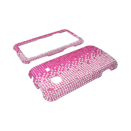 Samsung Galaxy Prevail M820 Bling Hard Case - Hot Pink & Silver Gems on Pink