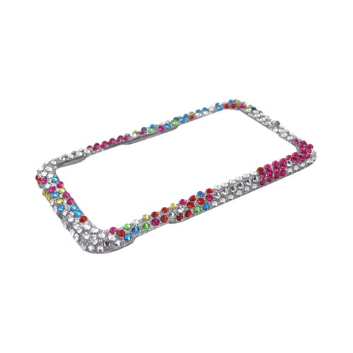 Samsung Galaxy Prevail M820 Bling Hard Case - Magenta Butterflies & Colorful Dots on Silver Gems