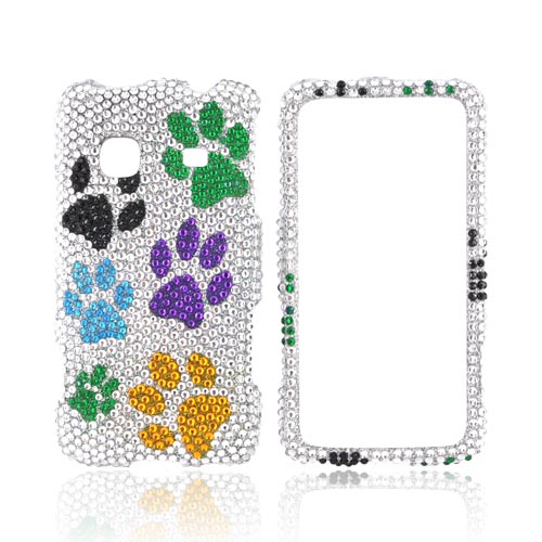 Samsung Galaxy Prevail M820 Bling Hard Case - Multi Color Paw Prints on Silver Gems