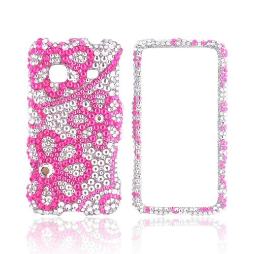 Samsung Galaxy Prevail M820 Bling Hard Case - Pink Lace Flowers on Silver Gems