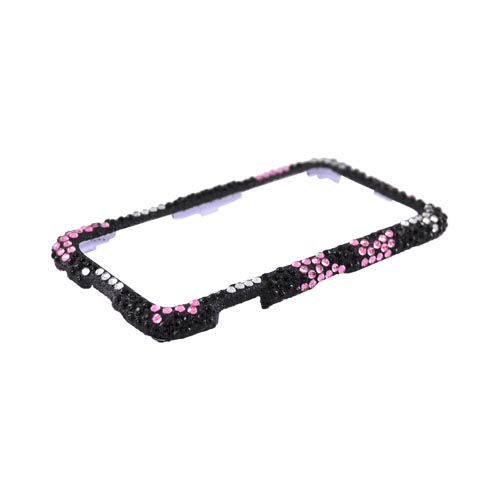 Samsung Galaxy Prevail M820 Bling Hard Case w/ Crowbar - Pink & Silver Stars on Black
