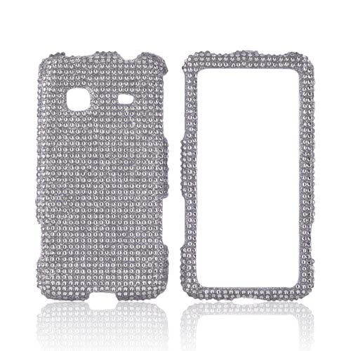 Samsung Galaxy Prevail M820 Bling Hard Case w/ Crowbar - Silver Gems